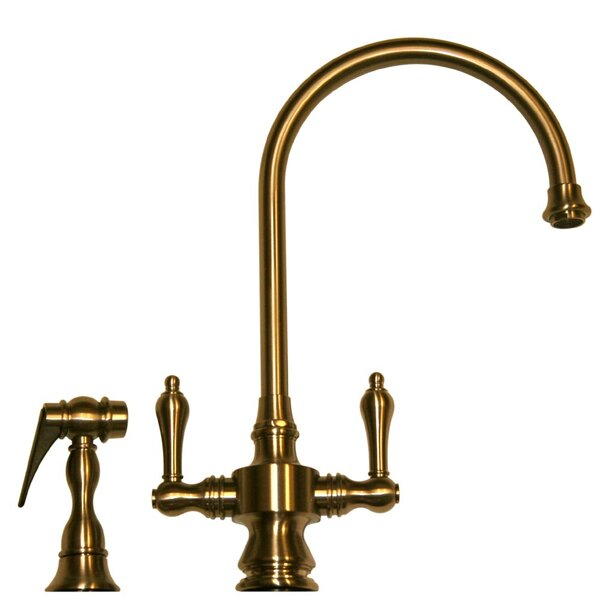 Vintage III Two Handle Single Hole Kitchen Faucet with Lever Handle and Side Spray by Whitehaus Collection