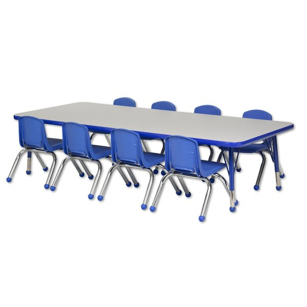 9 Piece Rectangular Activity Table & 10 Chair Set by ECR4kids