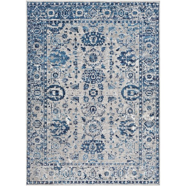 Ranck Distressed Vintage Cyan/Navy Area Rug by Bungalow Rose