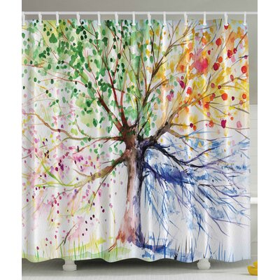 Incroyable Seasons Tree Print Shower Curtain
