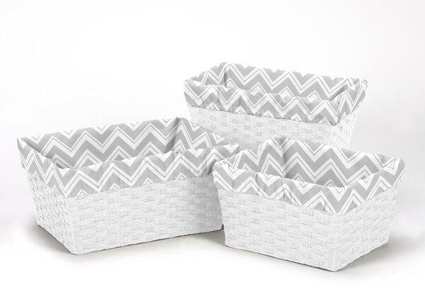Zig Zag Chevron 3 Piece Basket Liner Set by Sweet Jojo Designs