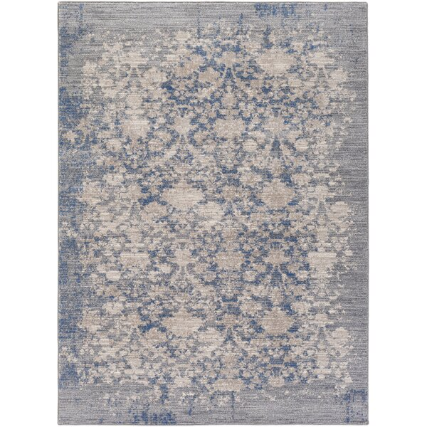 Kimbrel Hand-Woven Blue/Gray Area Rug by Ophelia & Co.