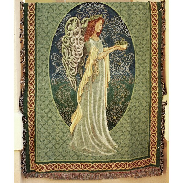 Irish Angel Tapestry Cotton Throw Blanket by Manual Woodworkers & Weavers