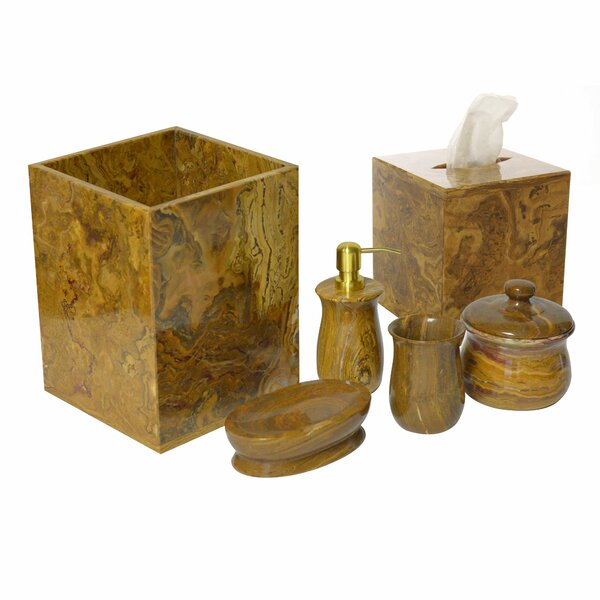 Polished Marble 6 Piece Bathroom Accessory Set by Rembrandt Home