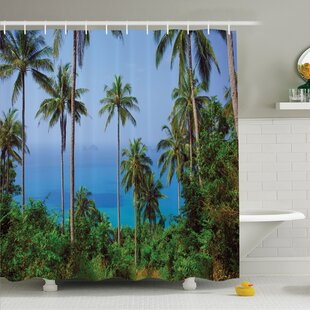 Palm Tree Ocean Scene From Jungle Tropical Beauty Natural Paradise In Nature Theme Shower Curtain Set