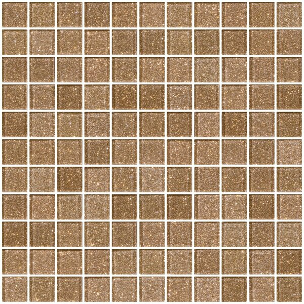 1 x 1 Glass Mosaic Tile in Taupe Gold by Susan Jablon