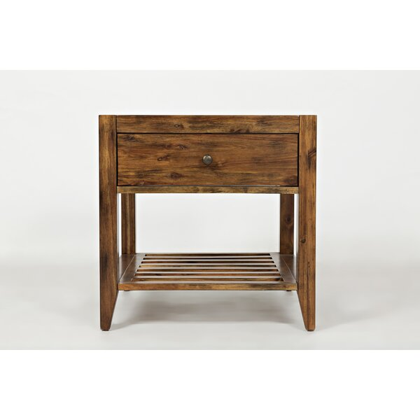Cano Transitional Wooden End Table By Millwood Pines by Millwood Pines Cool