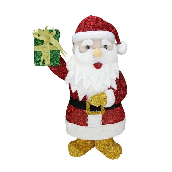 Lighted Tinsel Santa Claus with Gift Christmas Decoration by Northlight Seasonal