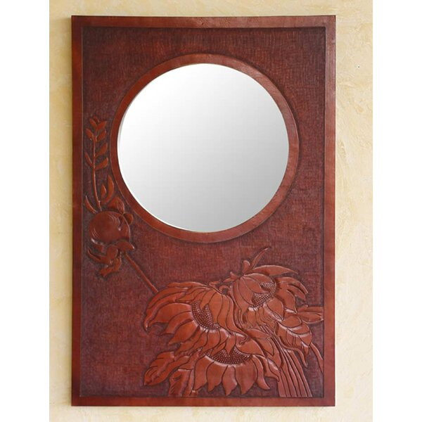 Floral Awakening Leather Wall Mirror by Novica