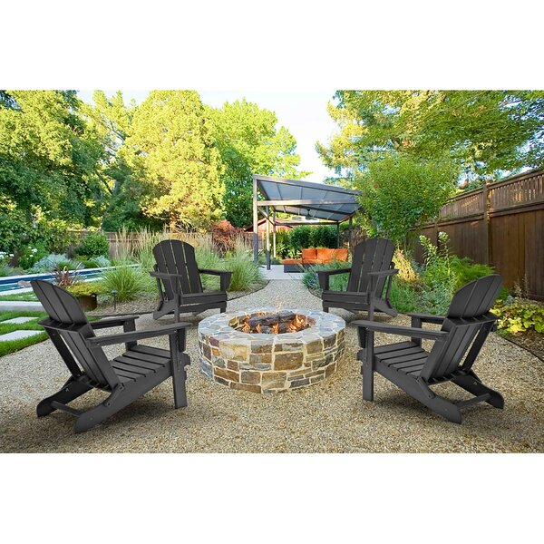Elland Outdoor Plastic Folding Adirondack Chair (Set of 4) by Loon Peak Loon Peak