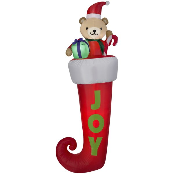 Stocking with Teddy Bear Christmas Oversized Figurine by The Holiday Aisle