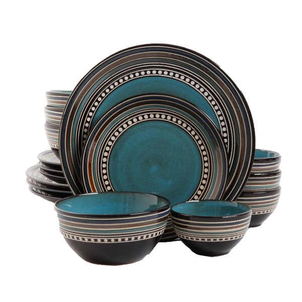 Elite Cafe Versailles 16 Piece Double Bowl Dinnerware Set by Gibson