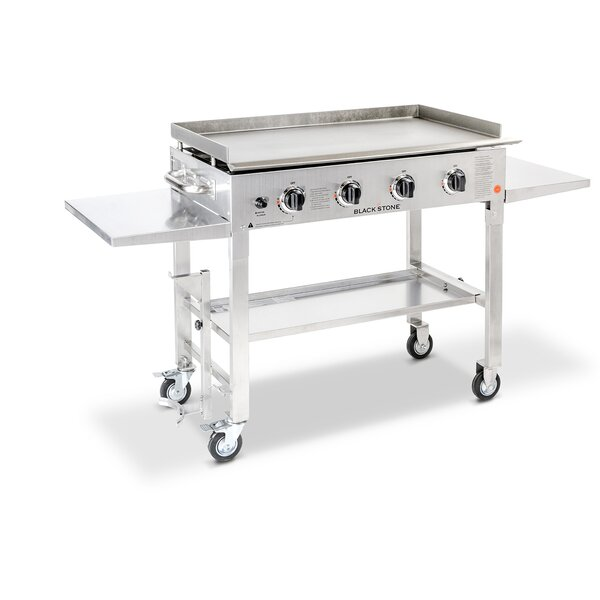 4-Burner Flat Top Propane Gas Grill with Side Shel