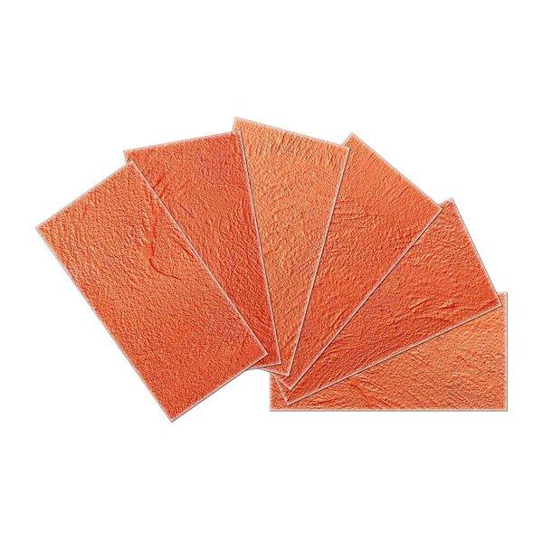Crystal Skin 3 x 6 Glass Subway Tile in Orange by SkinnyTile