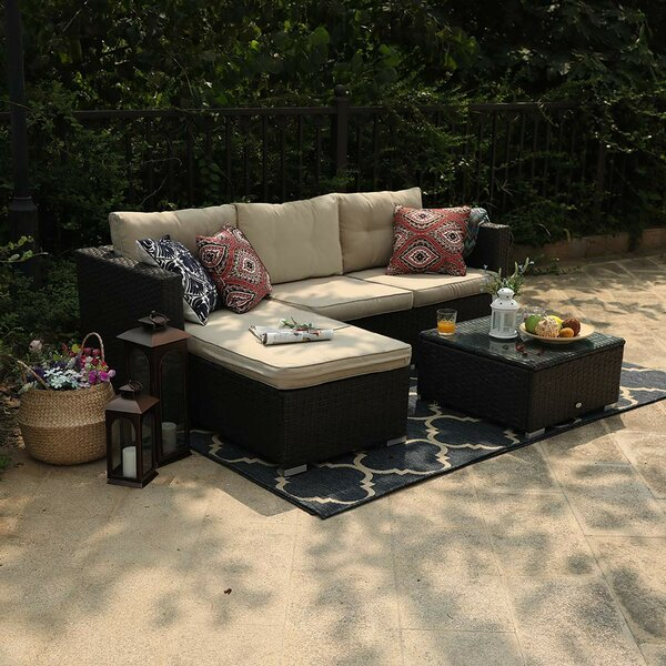 Steward Outdoor 3 Piece Rattan Sectional Sofa Set with Cushions by Wrought Studio