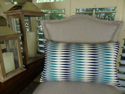 Thames River Cobalt Handmade Throw Pillow by Plutus Brands