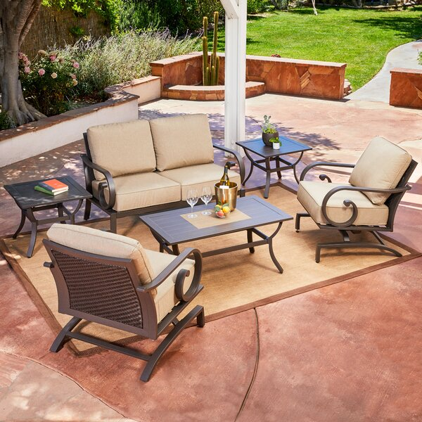 Kingston Seymour Milano 6 Piece Rattan Conversation Set with Cushions by Bayou Breeze