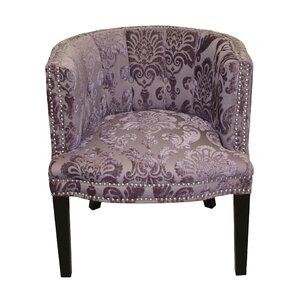 Nice Bohemian Plum Fan Damask Barrel Chair