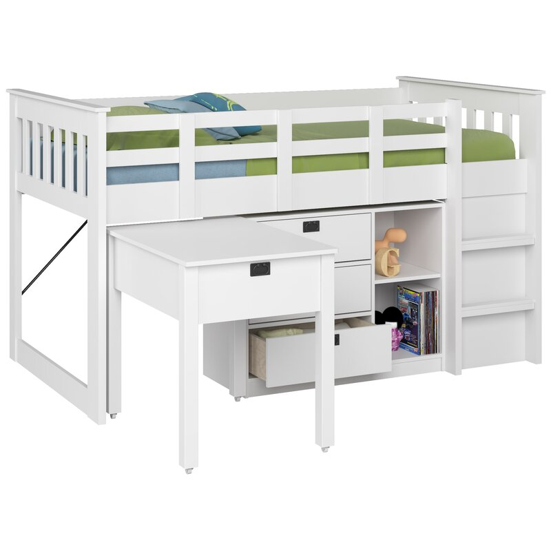 Beau Deion Twin Low Loft Bed With Storage