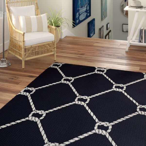 Bridgeport Navy Blue Indoor/Outdoor Rectangle Area Rug by Beachcrest Home