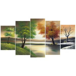 Changing Seasons on the Lake 5 Piece Painting Print on Wrapped Canvas Set by Latitude Run