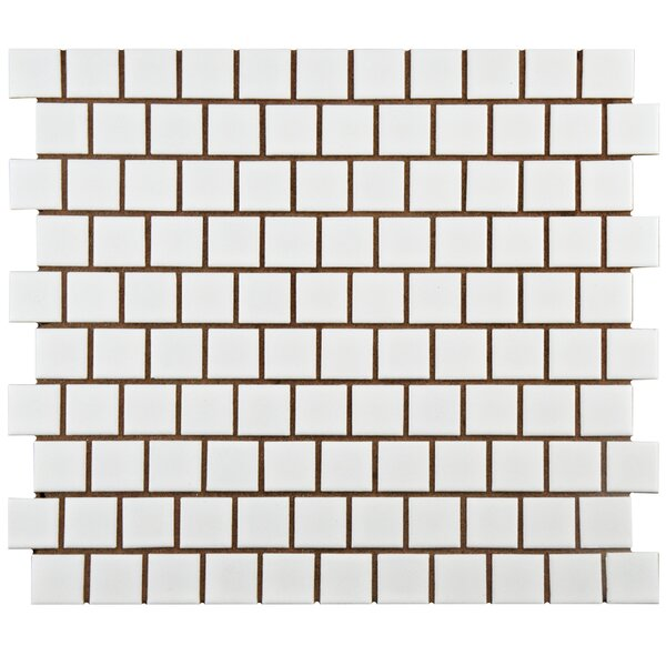 Retro Square Offset 1 x 1 Porcelain Mosaic Tile in Matte by EliteTile