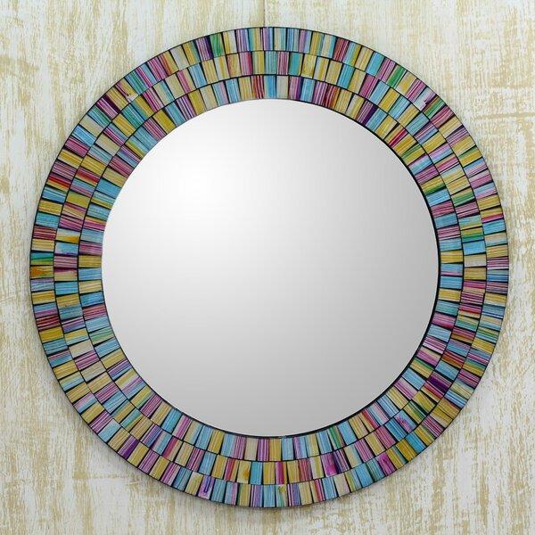 Rainbow Halo Artisan Crafted Mosaic Wall Mirror by Novica