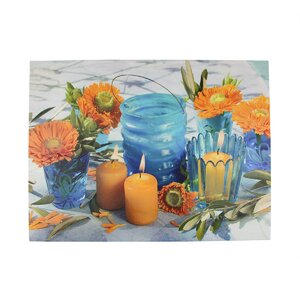 Lighted Candle and Flower Scene Photographic Print on Canvas by Northlight Seasonal