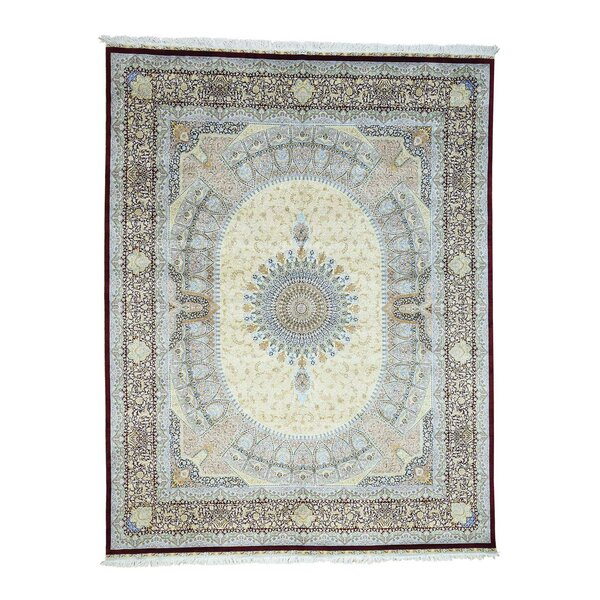 One-of-a-Kind Gilpin Gombad Pure Oriental Hand-Knotted Silk Beige Area Rug by World Menagerie
