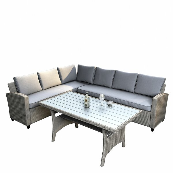 Kovach 3 Piece Rattan Sectional Seating Group with Cushions by Ebern Designs