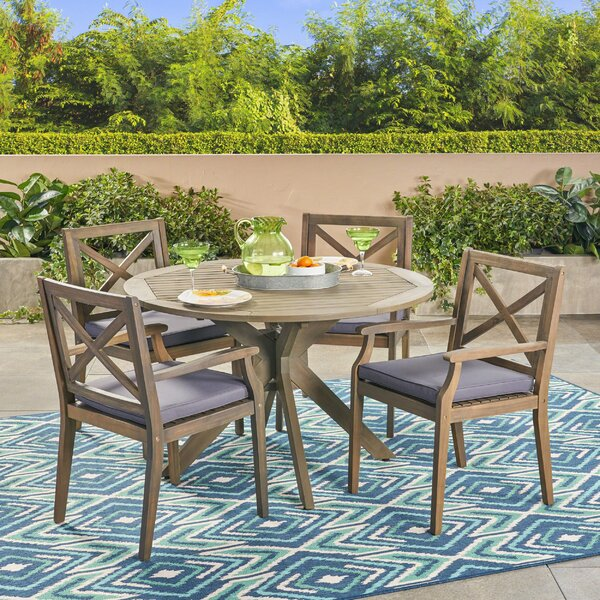 Obrien 5 Piece Dining Set with Cushions by Gracie Oaks