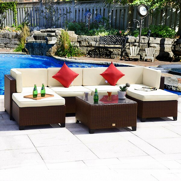Pelluru Furniture 7 Piece Sectional Seating Group with Cushions by Charlton Home