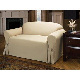 Tie Cotton Blend Box Cushion Sofa Slipcover