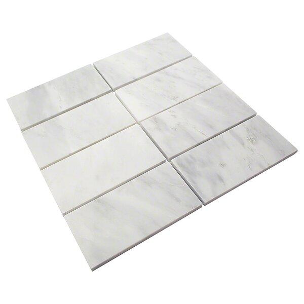 Oriental 3 x 6 Marble Subway Tile in White by Splashback Tile