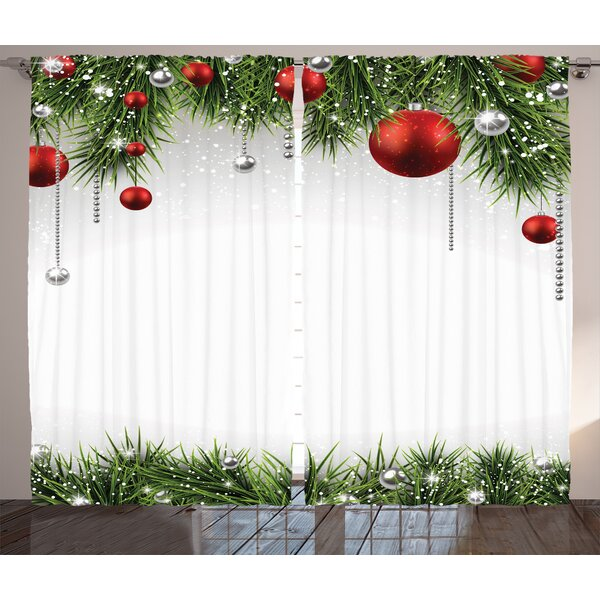 Christmas Decorations Classical Christmas Ornaments And Baubles Pine Tree Twig Tinsel Print Graphic Print Text Semi Sheer Rod Pocket Curtain Panels