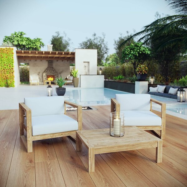 Erler 3 Piece Seating Group with Cushions by Foundry Select