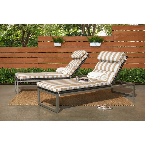 Gary Reclining Chaise Lounge with Sunbrella Cushion (Set of 2) by Corrigan Studio