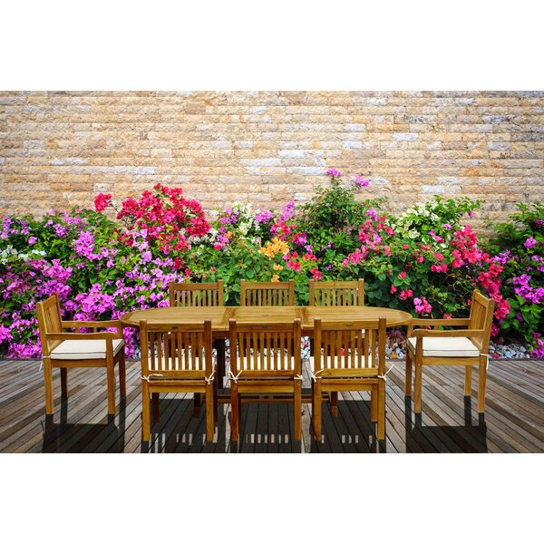 Elzas 9 Piece Teak Dining Set with Cushions by Darby Home Co