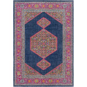 Fredonia Hexagonal Blue/Pink Area Rug