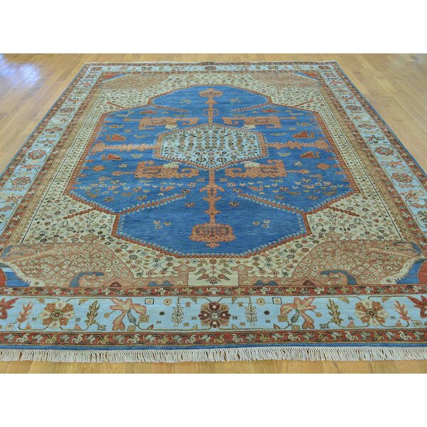 One-of-a-Kind Betz Bakshaish Dense Weave Vegetable Dyes Hand-Knotted Blue Wool Area Rug by Isabelline