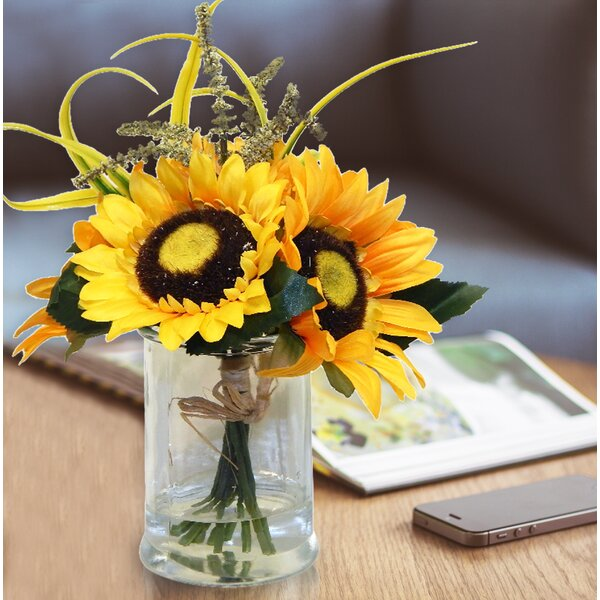 Sunflowers Floral Arrangement in Vase by August Grove