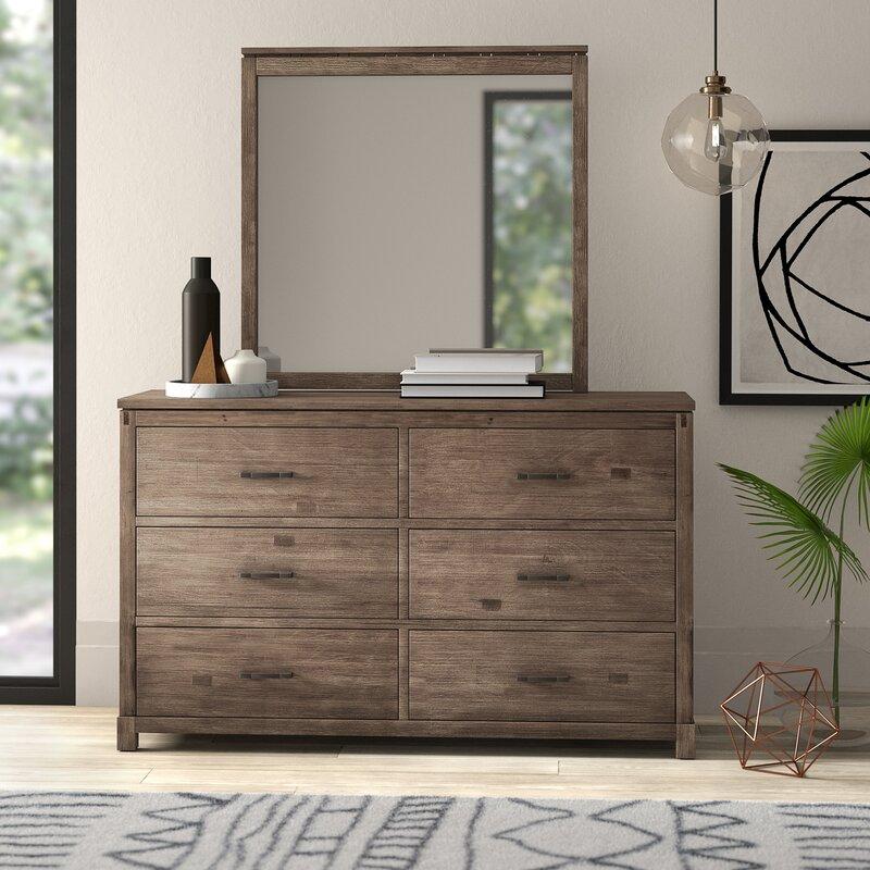 Mercury Row Seleukos 6 Drawer Double Dresser With Mirror Reviews