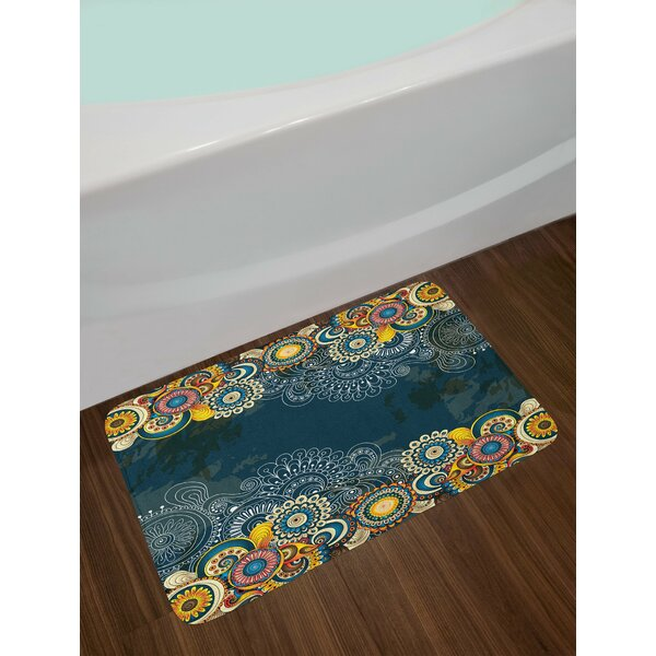 Blue Yellow Psychedelic Bath Rug by East Urban Home