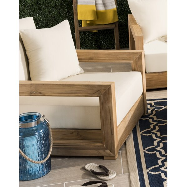 Lakeland Teak Patio Chair with Cushions by Rosecliff Heights