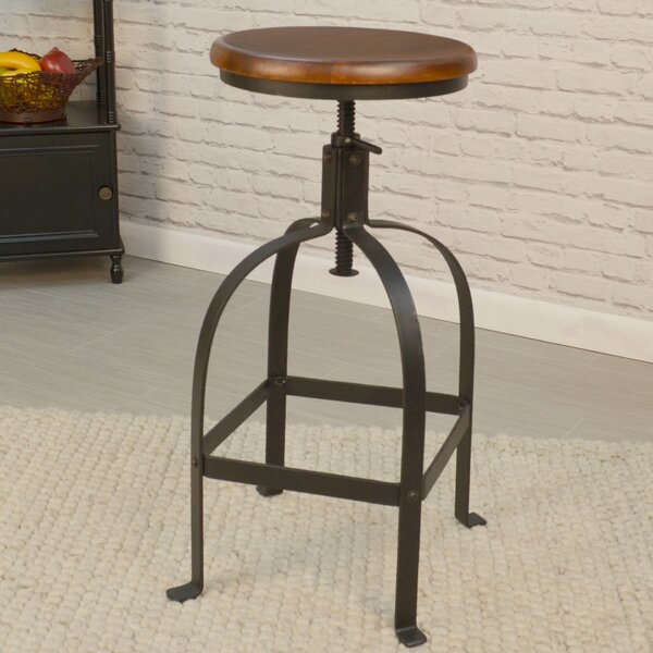 Gisele Adjustable Height Swivel Bar Stool by 17 Stories