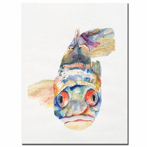 'Blue Fish' by Pat Saunders Framed Painting Print on Wrapped Canvas by Trademark Fine Art
