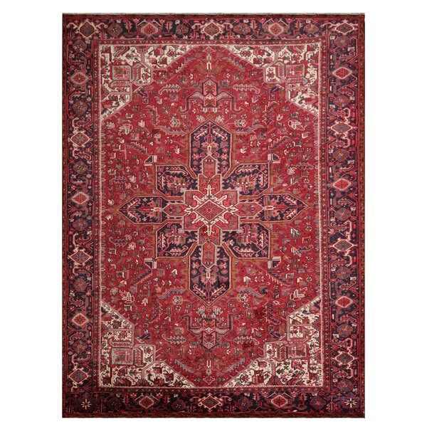 One-of-a-Kind Annies Hand-Knotted Heriz Red 9' x 13' Wool Area Rug