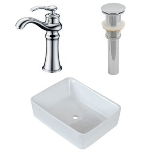 Price comparison Above Counter Ceramic Rectangular Vessel Bathroom Sink with Faucet By Royal Purple Bath Kitchen