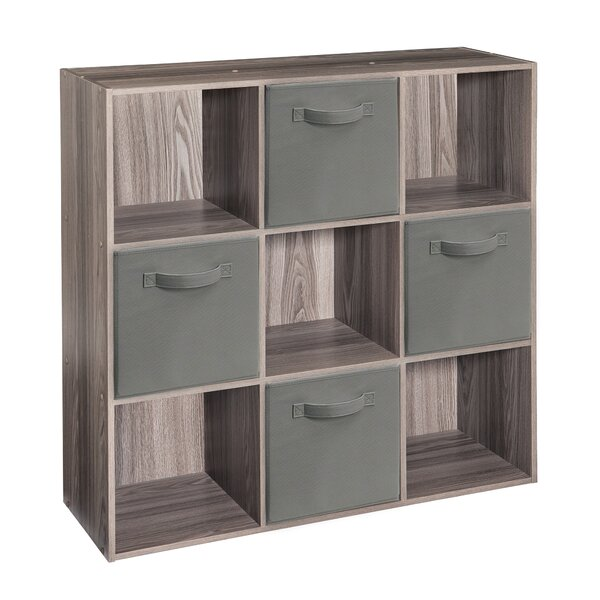 Cubeicals 9 Cube Bookcase With 4 Fabric Bins By ClosetMaid