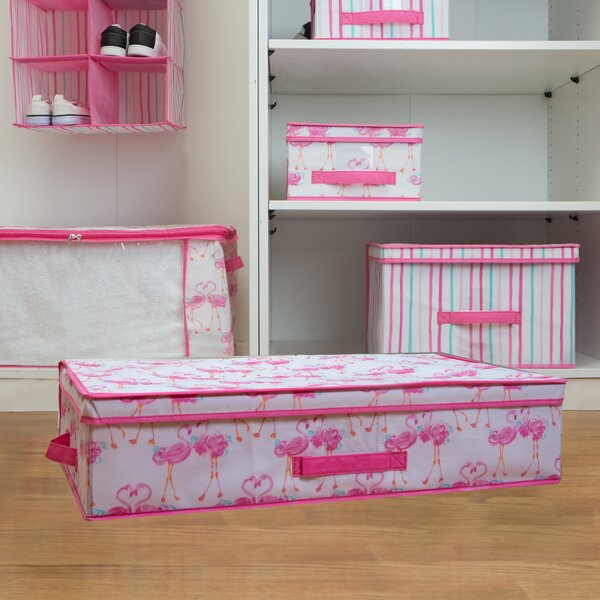 Kids Fabric Underned Storage Box in Pretty Flamingo by Laura Ashley Home